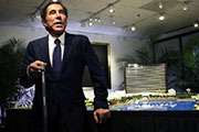 Casino mogul Steve Wynn rests against a site model during a news conference regarding the $1.7 billion Wynn Boston Harbor in Medford, Massachusetts, Tuesday, March 15, 2016.  (Charles Krupa/AP)