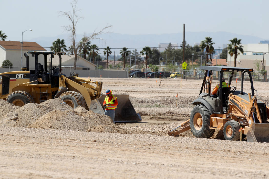Site work is re-started on an unfinished subdivision on East Lake Mead Boulevard at Dolly Lane between Lamb and Nellis boulevards Tuesday, April 3, 2018. (K.M. Cannon/Las Vegas Review-Journal) @KM ...