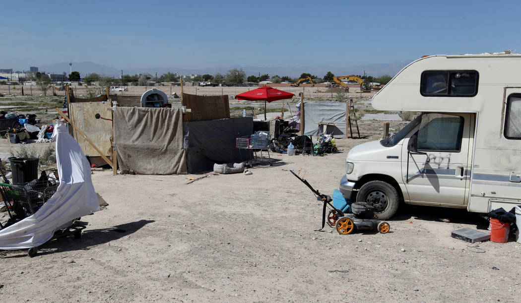 A homeless camp adjacent to an unfinished subdivision on East Lake Mead Boulevard at Dolly Lane between Lamb and Nellis boulevards Tuesday, April 3, 2018. K.M. Cannon Las Vegas Review-Journal @KMC ...