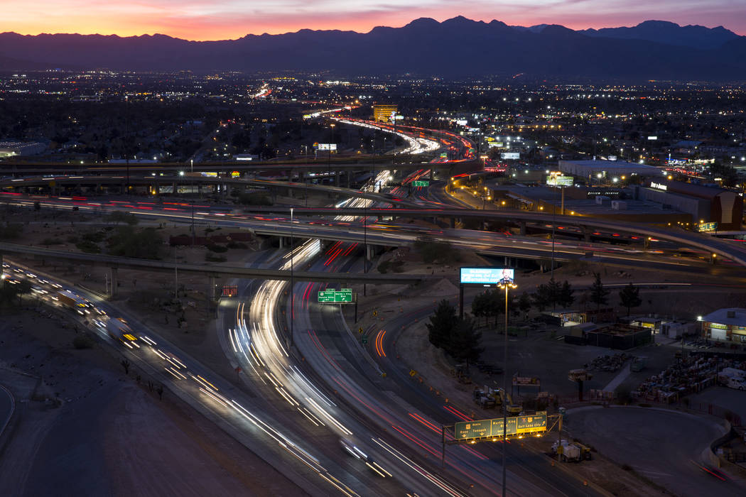 Vehicles travel through the Spaghetti Bowl freeway interchange during rush hour traffic in Las Vegas on Friday, Feb. 9, 2018. Richard Brian Las Vegas Review-Journal @vegasphotograph