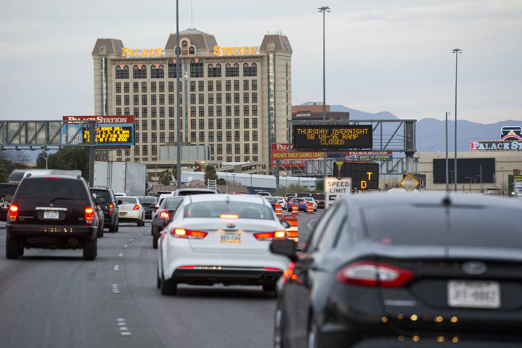Heavy traffic moves in the northbound lanes of Interstate 15 near Sahara Avenue in Las Vegas on Thursday, April 5, 2018. Richard Brian Las Vegas Review-Journal @vegasphotograph