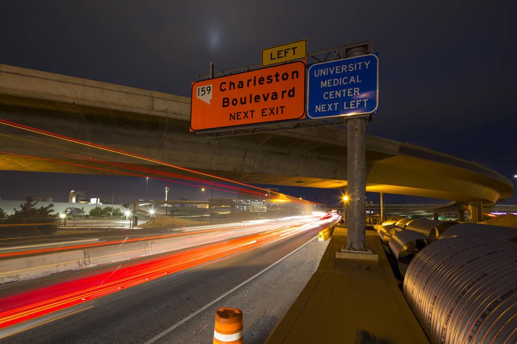 Vehicles travel along southbound lanes of Interstate 15  through the Spaghetti Bowl freeway interchange near downtown Las Vegas on Friday, April 6, 2018. Richard Brian Las Vegas Review-Journal @ve ...