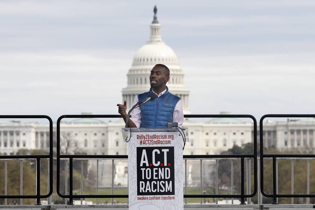 Activist DeRay Mckesson speaks at the A.C.T. To End Racism rally, Wednesday, April 4, 2018, on the National Mall in Washington, on the 50th anniversary of Martin Luther King Jr.'s assassination. ( ...