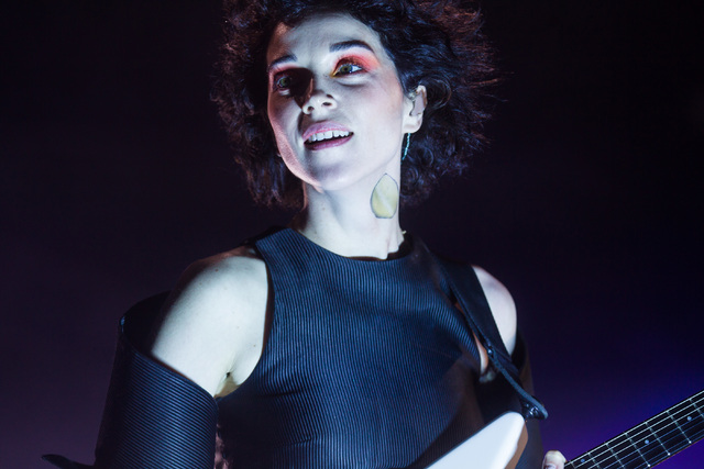 Annie Clark of St. Vincent performs during the second weekend of Coachella Valley Music & Arts Festival at the Empire Polo Club on Sunday, April 19, 2015 in Indio, Calif. (Chase Stevens/Las Ve ...