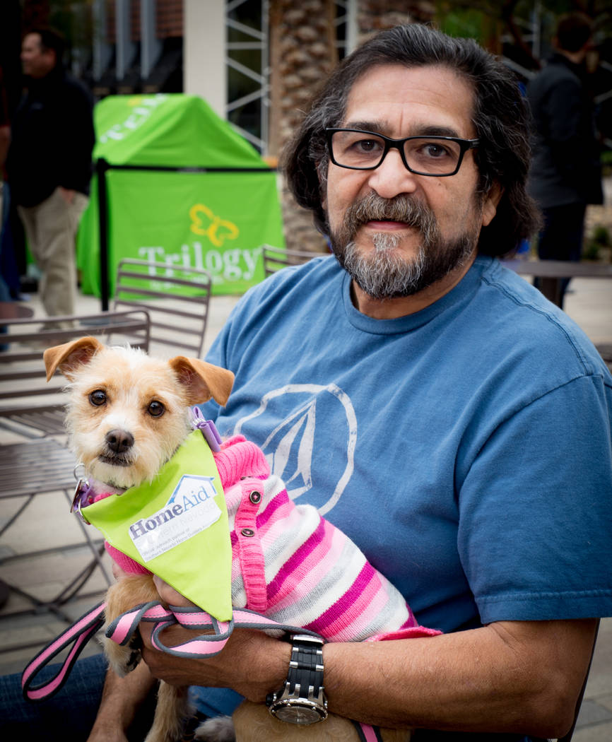 "Jesse Saenz and Olivia come out to support HomeAid of Southern Nevada at the ""Barkitecture"" event March 20. (Tonya Harvey Las Vegas Business Press)"