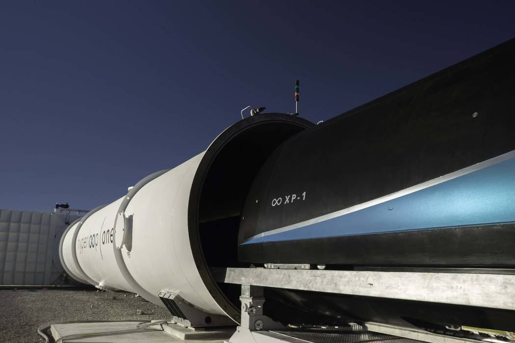 Virgin Hyperloop One hit about 240 mph with a travel circuit that magnetically levitates a pod and sends it through a tube, according to a statement Monday. (Virgin Hyperloop One)