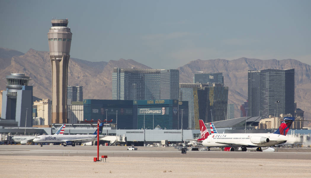 Commercial airliners on the tarmac at McCarran International Airport in Las Vegas on Monday, Jan. 22, 2018. (Richard Brian/Las Vegas Review-Journal) @vegasphotograph