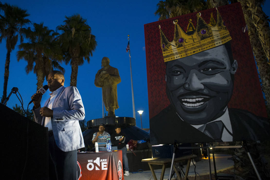 Clark County Commissioner Lawrence Weekly speaks during a vigil held in honor of Dr. Martin Luther King Jr. at the statue made in his memory in North Las Vegas on Wednesday, April 4, 2018. Chase S ...