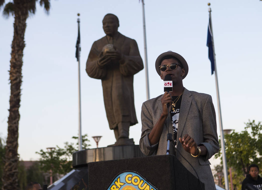 Minister Stretch Sanders speaks during a vigil held in honor of Dr. Martin Luther King Jr. at the statue made in his memory in North Las Vegas on Wednesday, April 4, 2018. Chase Stevens Las Vegas  ...