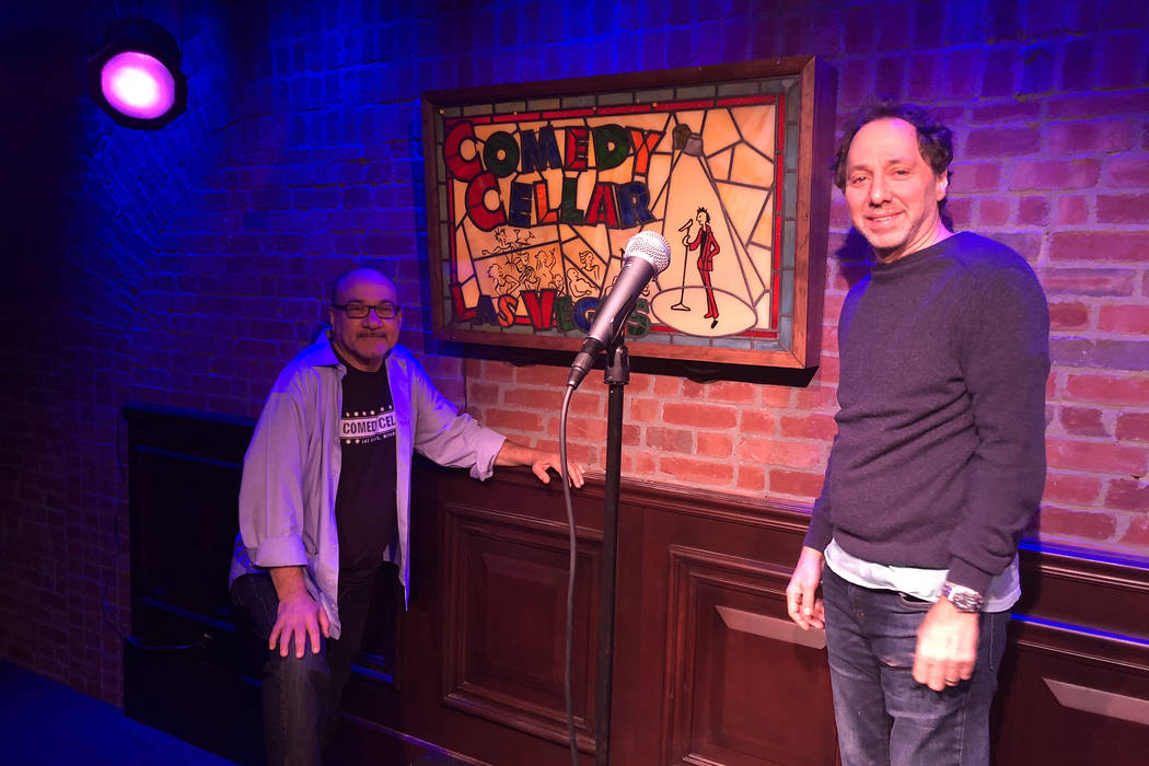 Comedy Cellar co-owners Bill Grundfest, left, and Noam Dworman are shown onstage at the club at the Rio on Wednesday, April 4, 2018. (John Katsilometes/Las Vegas Review-Journal) @JohnnyKats