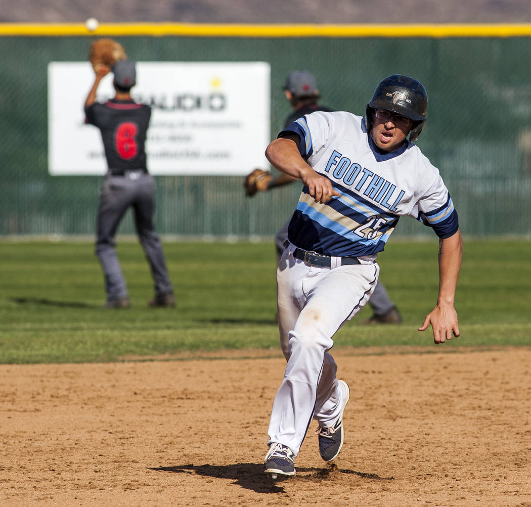 Foothill's Tommy Dirk runs toward third base during the fourth inning of a baseball game against Las Vegas at Foothill High School in Henderson on Wednesday, April 4, 2018. Foothill won 1-0.  Patr ...