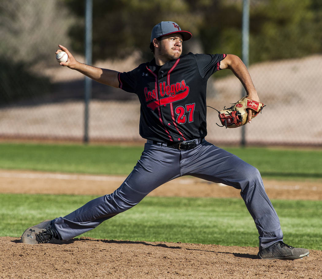Las Vegas pitcher Brandon Smith pitches against Foothill during the fifth inning at Foothill High School in Henderson on Wednesday, April 4, 2018. Foothill won 1-0.  Patrick Connolly Las Vegas Rev ...