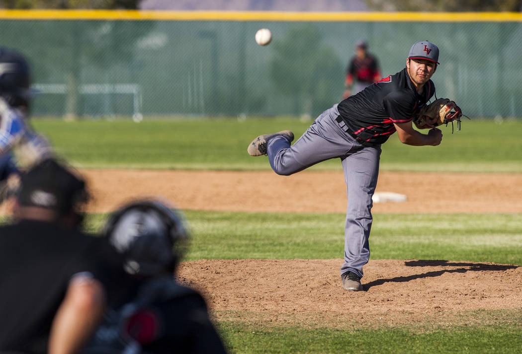Las Vegas pitcher Brandon Smith pitches against Foothill during the sixth inning at Foothill High School in Henderson on Wednesday, April 4, 2018. Foothill won 1-0.  Patrick Connolly Las Vegas Rev ...