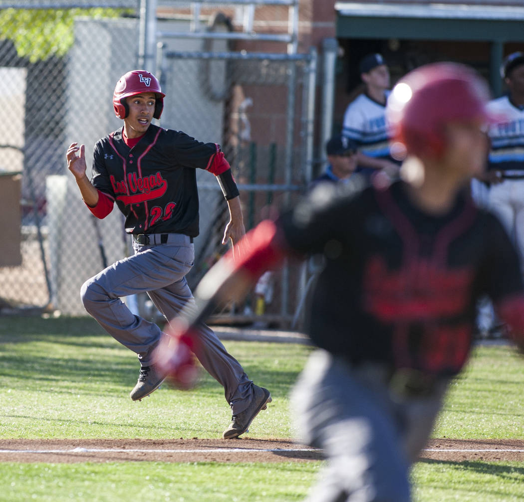 Las Vegas' Osvaldo Bernabee runs toward home in a last-ditch effort to score against Foothill during the seventh inning at Foothill High School in Henderson on Wednesday, April 4, 2018. Foothill w ...