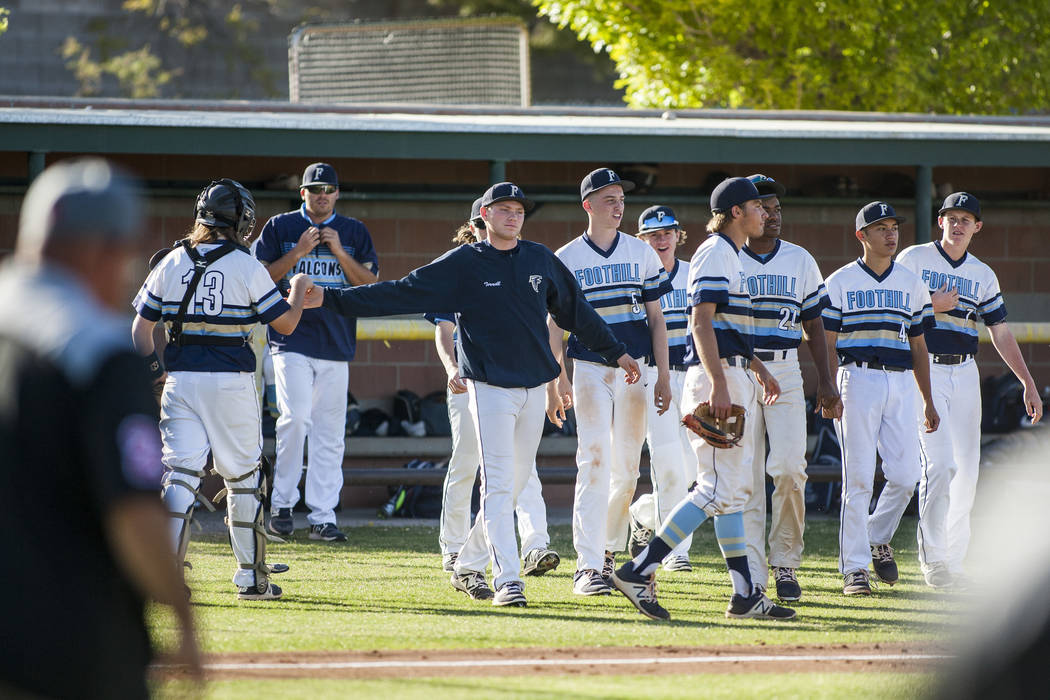 Foothill players come together after defeating Las Vegas 1-0 at Foothill High School in Henderson on Wednesday, April 4, 2018.  Patrick Connolly Las Vegas Review-Journal @PConnPie