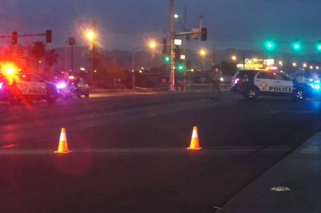 Las Vegas police are investigating an accident involving a pedestrian and a vehicle at the intersection at Boulder Highway and Tropicana Avenue. (Max Michor/Las Vegas Review-Journal)