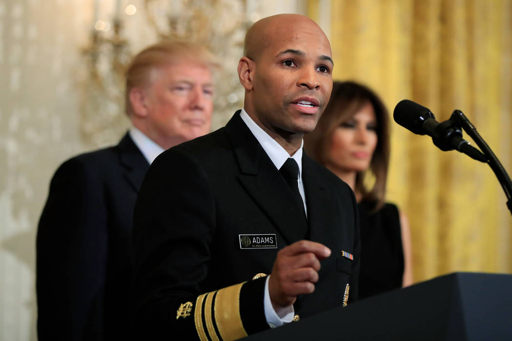 Surgeon General Jerome Adams speaks during a National African American History Month reception hosted by President Donald Trump and first lady Melania Trump in the East Room of the White House in  ...