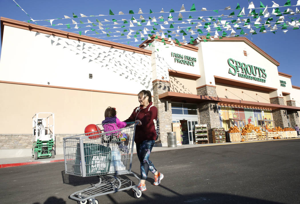 Alvina Andrzejewski and her 1-year-old son Chloe leave a newly opened Sprouts Farmers Market at 8441 Farm Road, in Las Vegas on Wednesday Sept. 27, 2017. (Bizuayehu Tesfaye/Las Vegas Review-Journa ...
