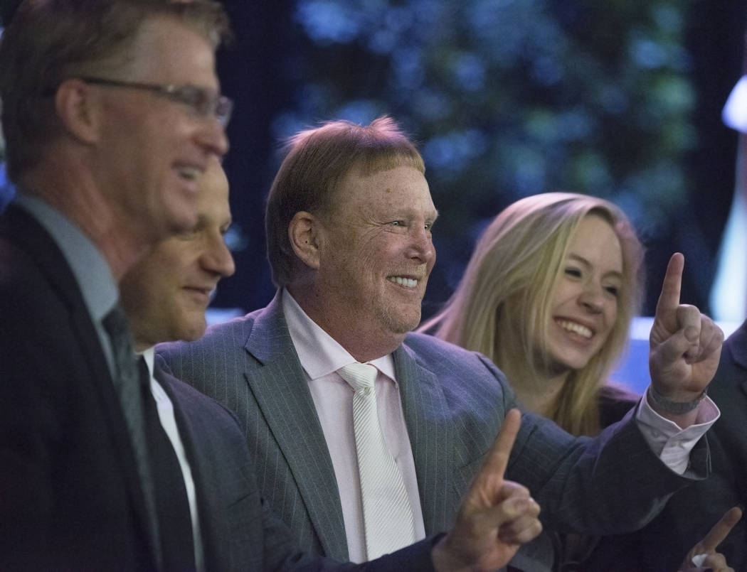 Steve Stallworth, left, general manager of South Point Arena & Equestrian Center, Marc Badain, president of the Oakland Raiders, Mark Davis, owner and managing general partner of the Oakland R ...
