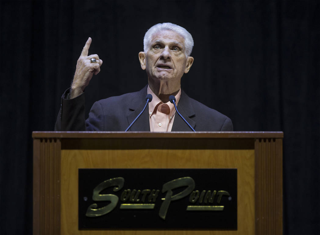 Frank Nails, former Bishop Gorman High School football coach, speaks during a ceremony to celebrate the life of local football great David Humm on Friday, April 6, 2018, at South Point Arena, in L ...