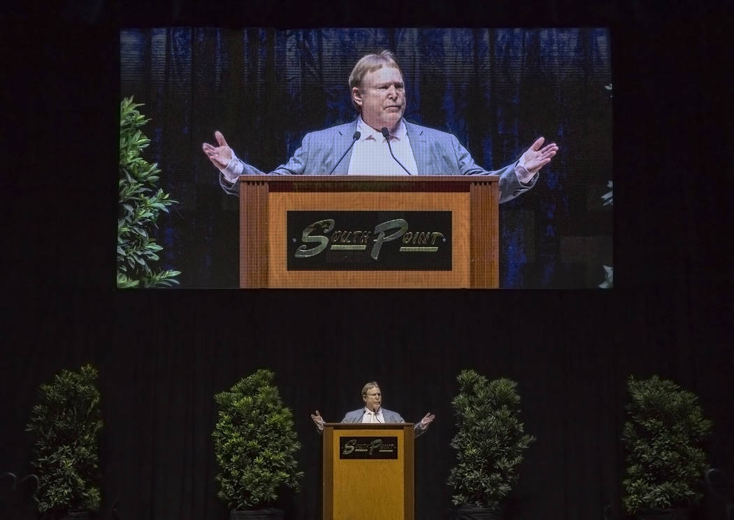 Mark Davis, owner and managing general partner of the Oakland Raiders, speaks during a ceremony to celebrate the life of former local football great David Humm on Friday, April 6, 2018, at South P ...