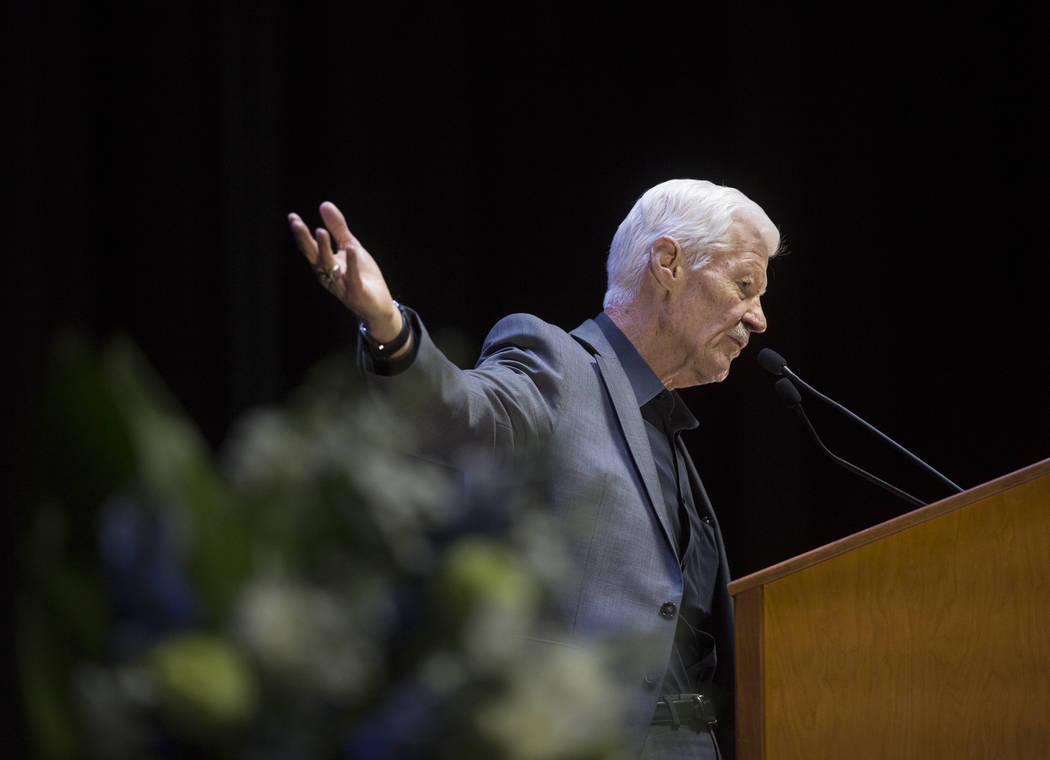 Tom Humm speaks during a ceremony to celebrate the life of his brother and former local football great David Humm on Friday, April 6, 2018, at South Point Arena, in Las Vegas. Humm, who was an All ...