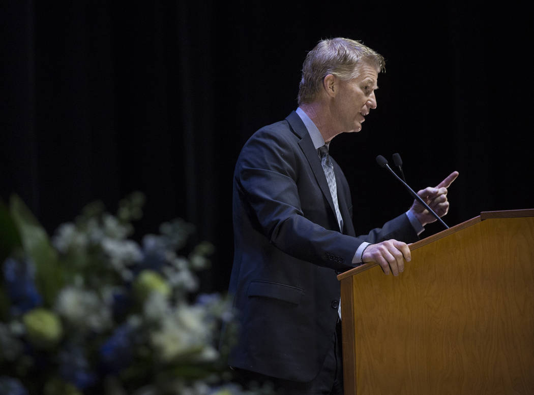 Steve Stallworth, general manager of South Point Arena & Equestrian Center, speaks during a ceremony to celebrate the life of former local football great David Humm on Friday, April 6, 2018, a ...