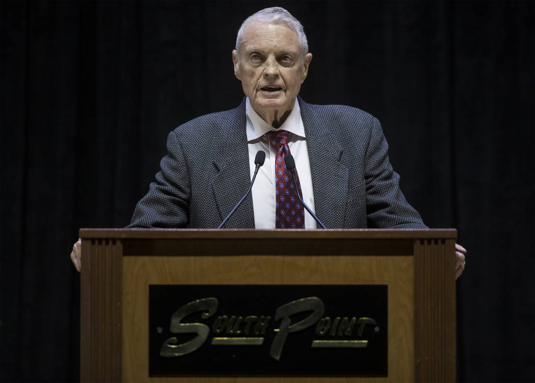 Former Nebraska head football coach Tom Osborne speaks during a ceremony to celebrate the life of local football great David Humm on Friday, April 6, 2018, at South Point Arena, in Las Vegas. Humm ...