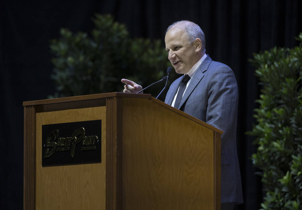 Marc Badain, president of the Oakland Raiders, speaks during a ceremony to celebrate the life of former local football great David Humm on Friday, April 6, 2018, at South Point Arena, in Las Vegas ...