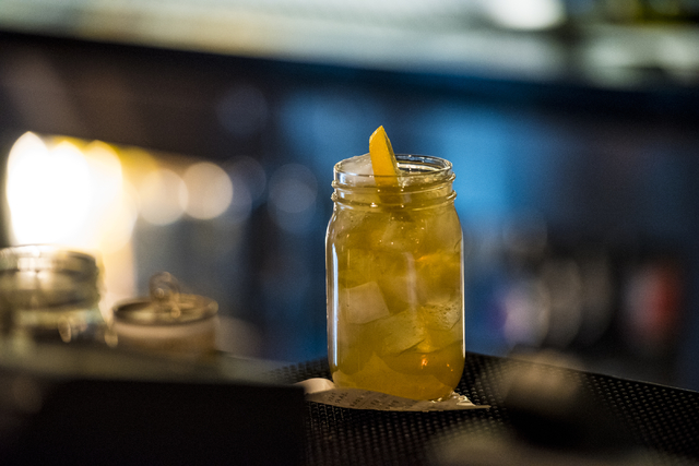 A cocktail rests on the bar at Park on Fremont located in downtown Las Vegas on Friday, June 5, 2015. (Joshua Dahl/Las Vegas Review-Journal)