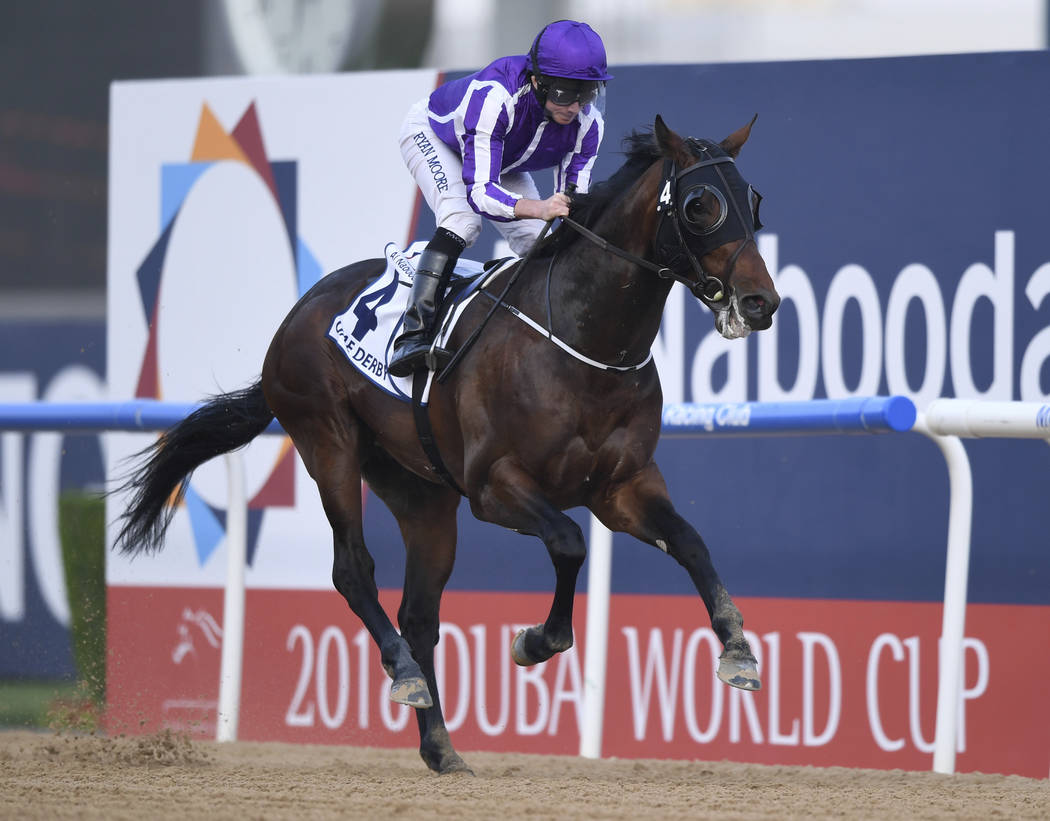 Mendelssohn with jockey Ryan Moore aboard wins the $2 million Group 2 UAE Derby over 1900m in Dubai, the United Arab Emirates, Saturday, March 31, 2018. (AP Photo/Martin Dokoupil)