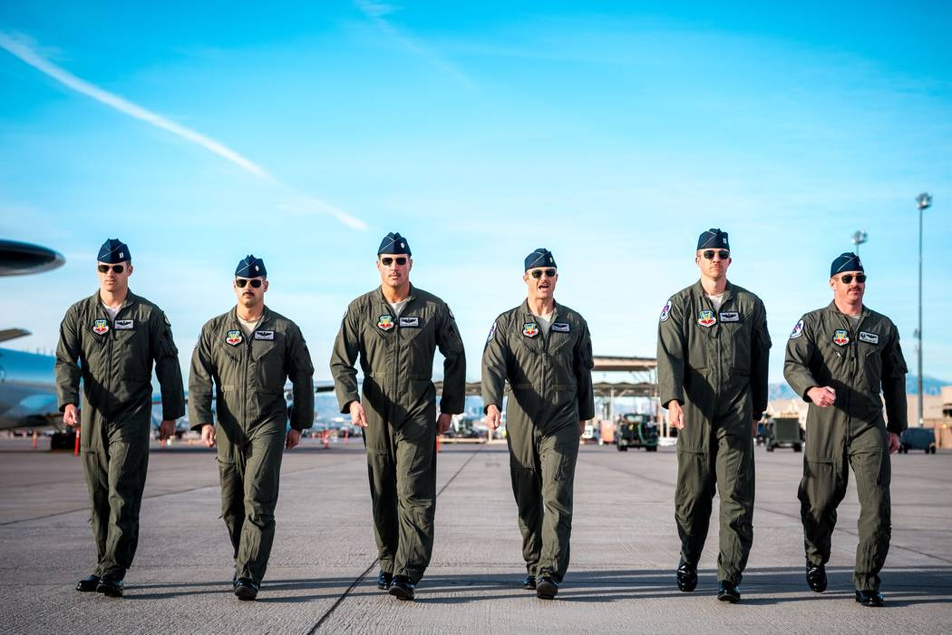 Maj. Stephen Del Bagno, Thunderbird 4/Slot Pilot, (pictured third from the left) marches to his F-16 Fighting Falcon alongside the five other Thunderbird pilots during a practice show at Nellis Ai ...