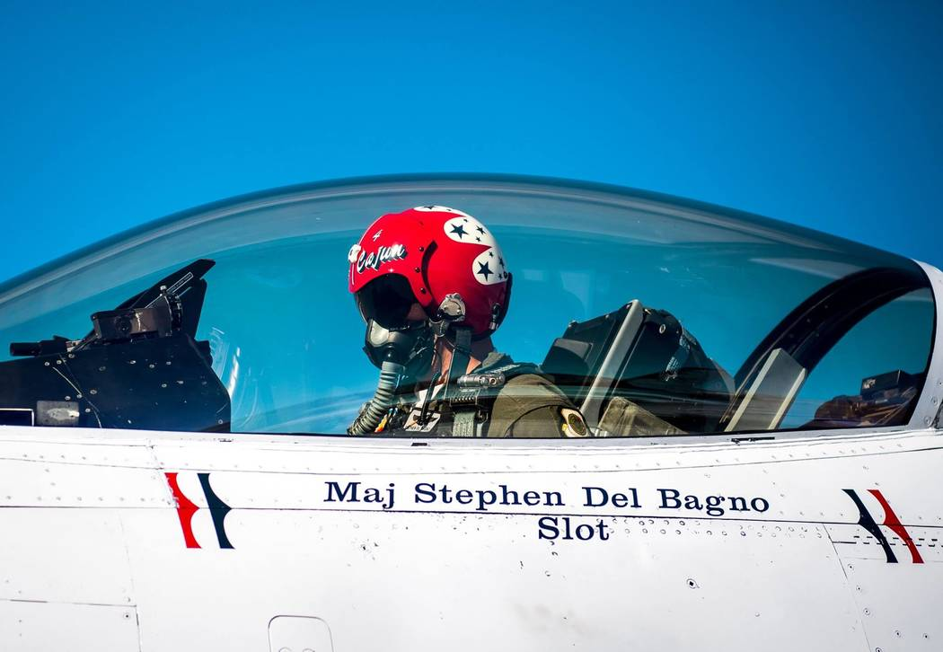 Maj. Stephen Del Bagno, Thunderbird 4/Slot Pilot, preforms preflight checks in his F-16 Fighting Falcon at Nellis Air Force Base, Nev., Jan. 26, 2018. Del Bagno was killed when his aircraft crashe ...