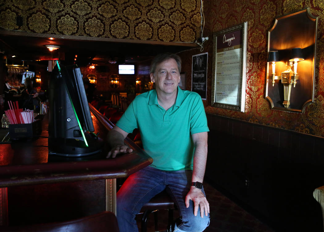 Greg Sims, owner of Champagnes Cafe, poses for photo on Wednesday, April 25, 2018, in Las Vegas. Bizuayehu Tesfaye/Las Vegas Review-Journal @bizutesfaye