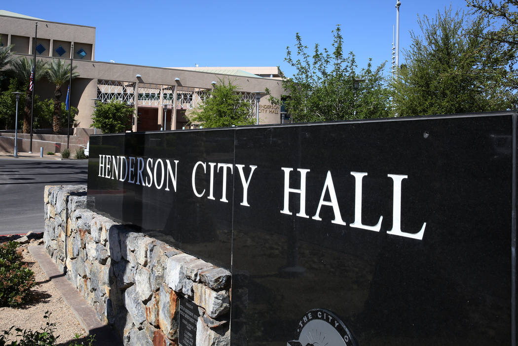 Henderson City Hall on Water Street photographed on Wednesday, April 25, 2018, in downtown Henderson. Bizuayehu Tesfaye/Las Vegas Review-Journal @bizutesfaye