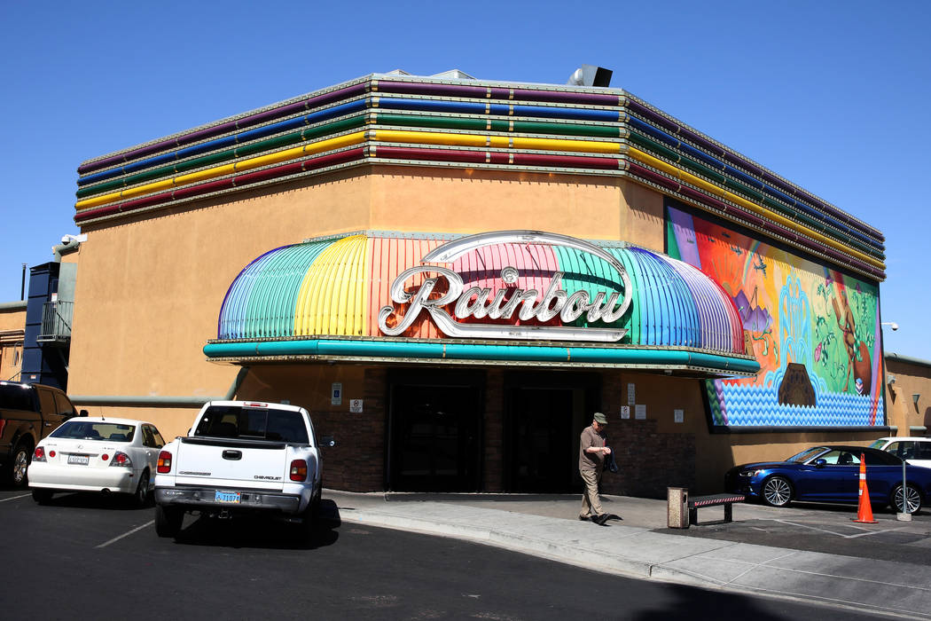 A customer exits Rainbow Club and Casino on Water Street in downtown Henderson on Wednesday, April 25, 2018. Bizuayehu Tesfaye/Las Vegas Review-Journal @bizutesfaye