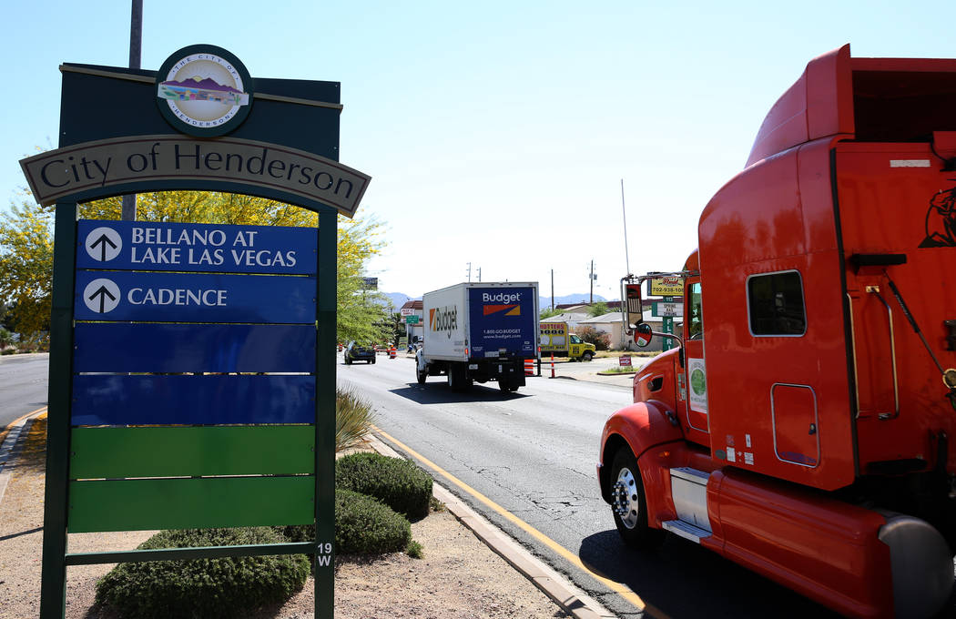 The city of Henderson sign on Lake Mead Parkway photographed on Wednesday, April 25, 2018, in Henderson. Bizuayehu Tesfaye/Las Vegas Review-Journal @bizutesfaye