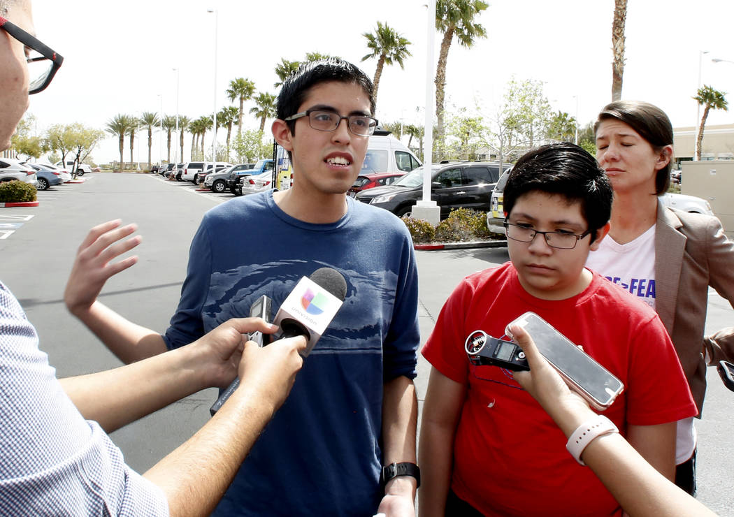 Ricardo Avelar, 18, speaks during a press conference as his brother Eric, 13, right, looks on outside of U.S. Citizen and Immigration Service building on Thursday, April 5, 2018, in Las Vegas. Ave ...