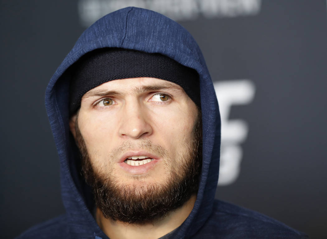 UFC lightweight fighter Khabib Nurmagomedov talks to reporters during UFC223's media day, Thursday, April 5, 2018, in New York. Nurmagomedov's opponent in Saturday's UFC lightweight title fight wi ...
