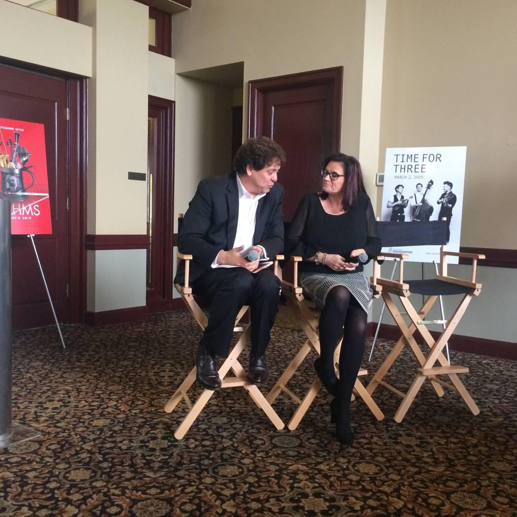 Las Vegas Philharmonic music director Donato Cabrera and concertmaster De Ann Letourneau at 2018-19 season announcement, April 5, 2018.