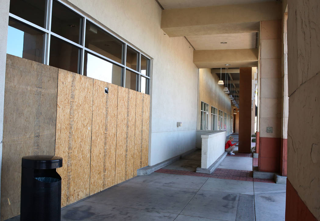 The boarded up entrance of former grocer Haggen in Boca Park on Wednesday, Feb. 7, 2018, in Las Vegas. The store remains empty more than two years after the grocery chain went bankrupt. (Bizuayehu ...