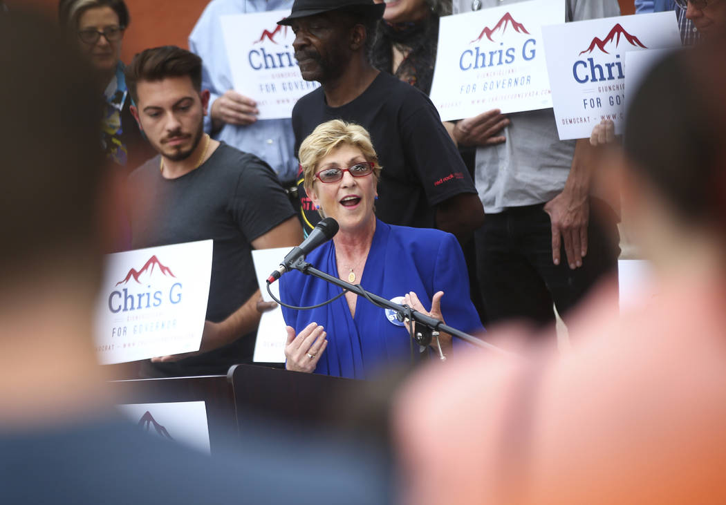 FILE - In this Oct. 18, 2017 file photo, Clark County Commissioner Chris Giunchigliani announces her campaign for governor outside of Las Vegas Academy in downtown Las Vegas. Giunchigliani is push ...
