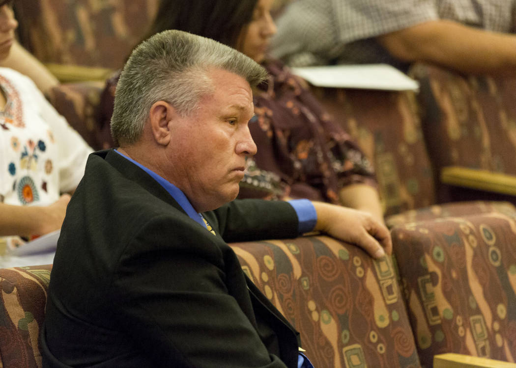 North Las Vegas Constable Robert Eliason appears before the Clark County Commission, Wednesday, July 5, 2017, in Las Vegas. Commissioners, who are considering whether to declare Eliason's office v ...