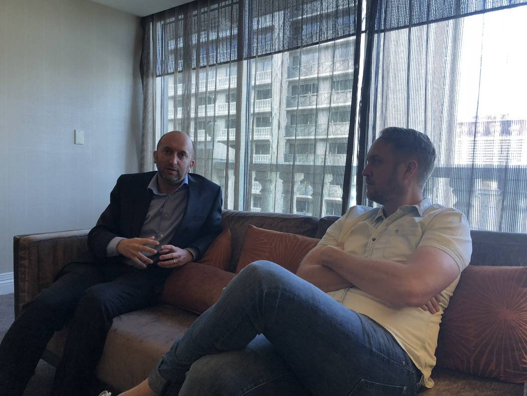 Jason Gastwirth, left and Mac Reynolds are shown discussing the Emerge Music + Impact festival during an interview at Nobu Hotel on Monday, April 2, 2018. (John Katsilometes/Las Vegas Review-Journal)