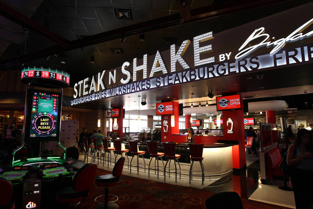 Steak 'n Shake inside Hooters Hotel on opening day Thursday, April 5, 2018. The restaurant, just inside the main entrance, is touted as the largest Steak 'n Shake in the world. K.M. Cannon Las Veg ...