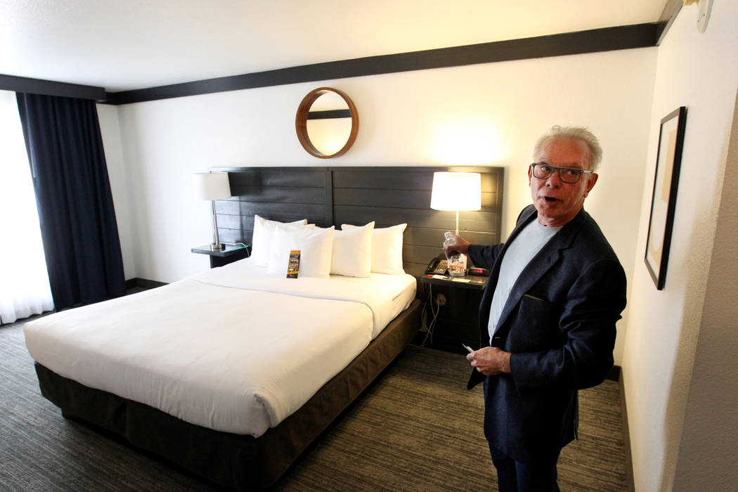 George Ruff, founder and senior principal of Trinity Hotel Investors L.L.C., in one of the refurbished rooms at Hooters Hotel Thursday, April 5, 2018. K.M. Cannon Las Vegas Review-Journal @KMCanno ...