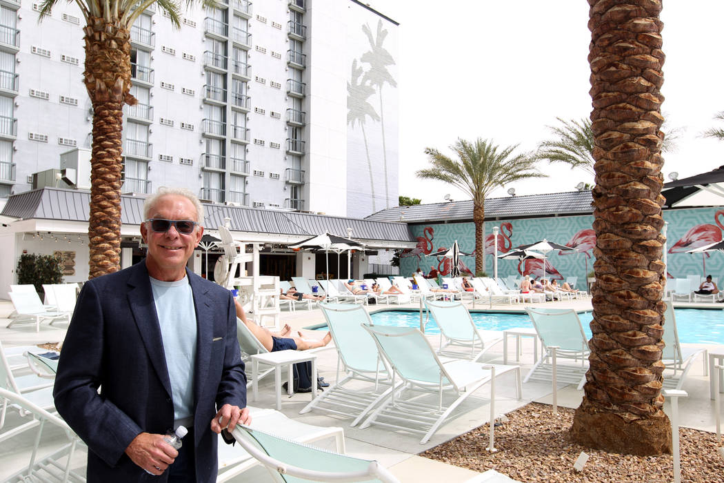 George Ruff, founder and senior principal of Trinity Hotel Investors L.L.C., at the re-done pool area at Hooters Hotel Thursday, April 5, 2018. K.M. Cannon Las Vegas Review-Journal @KMCannonPhoto