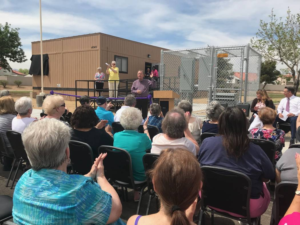 Cass Palmer, director of neighborhood and leisure services in North Las Vegas, announces the opening of the new Senior Center at Silver Mesa Recreation Center during a dedication ceremony held Apr ...