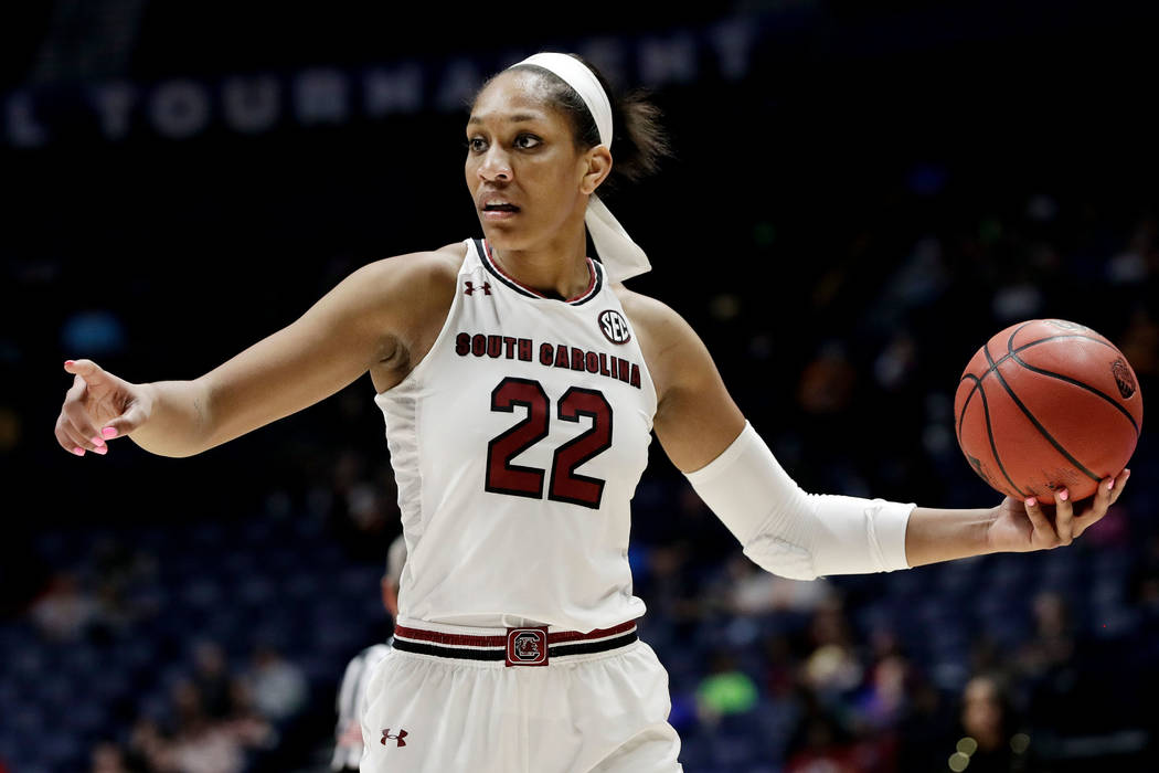 FILE - In this March 3, 2018, file photo, South Carolina forward A'ja Wilson plays against Georgia in the second half of an NCAA college basketball semifinal game at the women's Southeastern Confe ...
