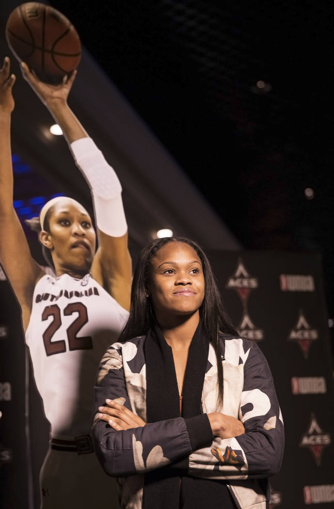Las Vegas Aces Moriah Jefferson takes photos during a WNBA draft party hosted by the Aces at Libertine Social on Thursday, April 12, 2018, at the Mandalay Bay hotel-casino, in Las Vegas. Benjamin ...
